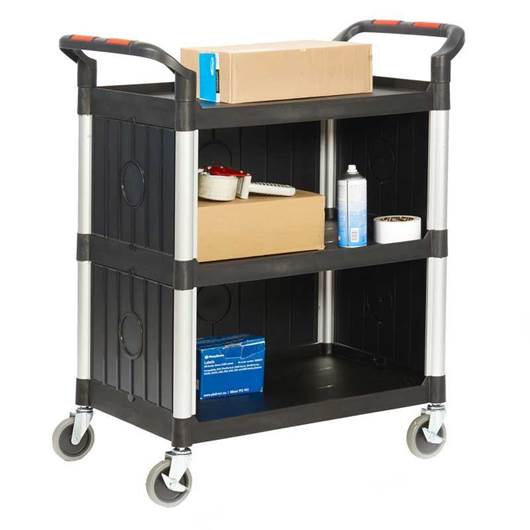 Picture of Proplaz 3 Shelf Trolleys with Plastic Sides